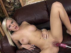 It's a pleasure to watch blondie slamming her cramped vag during rough solo on the sofa with a machine