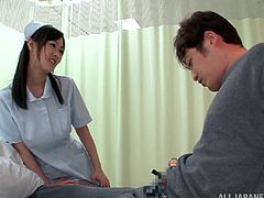 Get wild watching this Japanese nurse, with big tits wearing her uniform, while she helps a guy feel well again. She's a dirty girl!