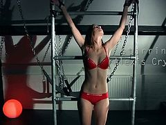Lollypop tied and tortured to the max. She knows that a pure submissive slave is required. But our male of domination has special tools to discipline a little young slut like her: harsh slap and hard fuck and she loves it.