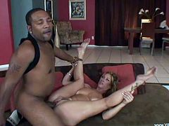 Sexy blonde Tiffany Mynx is having a nice time with a black dude. She sucks his huge and fat prick and then takes it in her stretchy coochie.