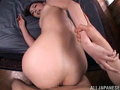Witness this video where an Asian babe, with a nice ass wearing panties, goes really hardcore with a horny dude and moans like a desperate chick.