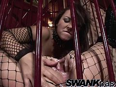 Wonderful Mandy Bright And Her Slutty GF Finger Each Other Inside A Cage