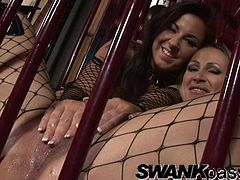Press play to watch these lesbian babes, with nice asses wearing fishnet outfits, while they touch and play with wicked toys together.