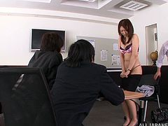 Have a blast watching this Asian doll, with natural boobs wearing sexy lingerie, while she goes hardcore in an office until she cums.