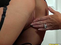 Well graced blond sweetie in white sexy lingerie gets her hot blooded pussy licked in doggy pose by her torrid brunette kooky in black suit. Have a look at that steamy lesbo copulation in Reality Kings sex video!