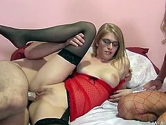 Four eyed filthy chick in glasses and her torrid booty kooky in sexy red fishnets got their sweet cunts destroyed in cowgirl and reverse positions. Take a look at that steamy 4 some in My XXX Pass sex clip!