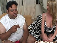 A pleasurable blonde babe with perky tits gives a blowjob to a fat dude with a small dick. Then she lies down on an armchair and gets fucked. Anita also gets a mouthful.