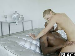 Lacey Johnson was a professional model and it shows. She reveals her perfect body before she engulfs a massive black cock. Her pussy stretches to accommodate that big dick.