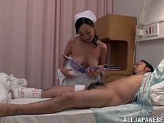 Get wild watching this Asian babe, with a nice ass wearing a nurse uniform, while she gets plowed hard by an injured dude and moans loudly.