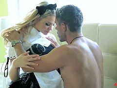 Entertain yourself by watching this blonde angel, with big tits wearing a sexy costume, while she has clothed sex with a horny fellow.