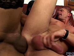 This horny dude loves the rough treatment. Horny shemale bends him over and pounds him mercilessly in and out loosening up his once tight hole.