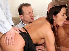 The way she deals with so many strong cocks is truly amazing as busty angel enjoys rough gang bang porn
