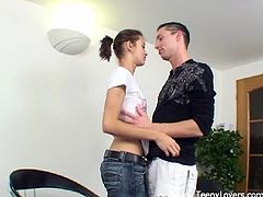 Make sure you have a look at this hardcore scene where this horny teen brunette is eaten out and fucked by this guy.
