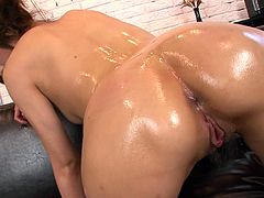 Fucktastic Asian hoochie with sexy body Tsubasa Aihara finger fucks her snatch and pets her clit with magic wand. Enjoy jerking off on her tight oily ass.