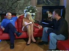 Make sure you don't miss this absolutely stunning blonde MILF getting rammed hard in front of her husband's eyes. Her tight pussy got destroyed for a huge cumshot.