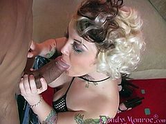 A slutty blonde milf gives a blowjob to some black man and jumps on his BBC. They have interracial sex and don't pay attention to some nerd jerking his dick off nearby.