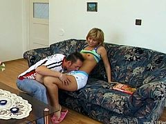 Kinky blonde Katerina is having fun with her BF Adam indoors. She gives a blowjob to the man and they have sex in the reverse cowgirl and the side-by-side positions.