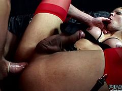 This horny dude loves the rough treatment. Lustful shemale fucks his tight butthole in missionary position. Then she wants him to return the favor and fuck her hard.