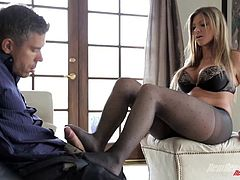 Be part of this video where a blonde wife, whit big gazongas wearing nylon pantyhose, while she goes hardcore with a kinky dude and moans stridently.