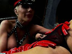 Blonde Sandy exposes body parts as she gets her muff fingered by Puma Swede in lesbian action