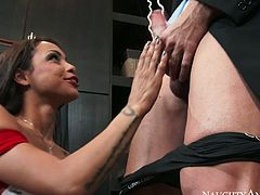 Gulliana Alexis is a gorgeous sucking head who loves to lick balls and give deepthroat blowjob. She guzzles big cock and then gets her ass hole rimmed.