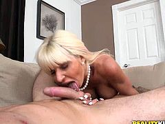 Long and light haired lusty MILF with sexy round breasts bounces on massive bonker of that guy face to face. Then sucks that juicy sloppy penis. Have a look at that steamy sex in reality Kings sex video!