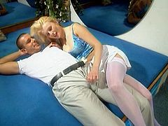 Make sure you take a look at this vintage video where the sexy blonde Becky sucks on this guy's hard cock before letting him drill her asshole.