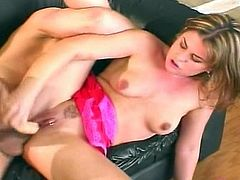Blonde harlot wants to have her pussy plugged with a stiff cock, and her asshole filled with a huge toy right at the same time!