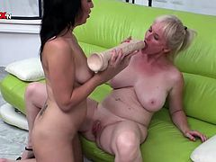 Light haired old whore with big tits lies on sofa with her legs spread apart and enjoys getting her ever hungry pussy banged with monstrous dildo by her horny kooky. Just take a look at these crazy lesbians in Porn XN sex clip!