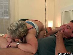 This horny plumper was inlove with her son in law for such a long time and decided to such his cock a bit. He sticked it in her fat cunt before his wife caught him in the action.