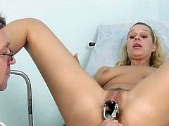 Furry vulva Tina harassed by daddy doctor