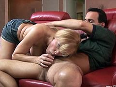 Busty blonde mom Nicole Moore gives a blowjob to a guy and lets him eat her snatch. After that they fuck in the reverse cowgirl position and doggy style.