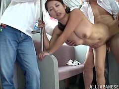 Horny Asian cutie in miniskirt excited as the gang suck her tits caressing them as others lick her pussy banging her in turns.
