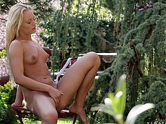 Get ready to get a serious boner with this solo scene where the gorgeous blonde Vanda Lust shows off her amazing body outdoors as she plays with herself.