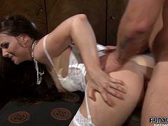 Long and dark haired sex doll with big booty and nice tits enjoyed getting her hot blooded button hole hammered from behind by her new BF. Look at that zealous babe in Pinko HD sex video!