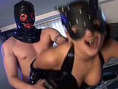 This latex mix loves working out before a good hard fucking from her hooded stud.  Blowjob and hardcore sex. They both get a workout at the gym and their private parts!