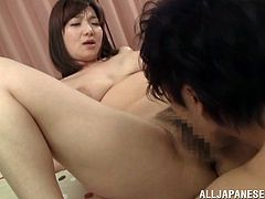 This red hot Asian cougar seduces this younger guy, takes him back to her room and has him drill her her tight, mature pussy.