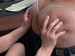 Horny shemale with juicy jugs seduces handsome guy for sex in the office. She kneels down taking hard dick in her mouth. Busty tranny gives awesome blowjob.