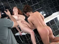 Tall and busty babe with big boobs Tarra gets wild with her gorgeous brunette girlfriend in bathroom. Brazen babes lick each other's tasty cunts and delicious buttholes.