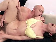 Big-Titted and horny, this MILF slut, Gina Red, is having owned by an old man, who's sticking his stony stick inside her cunt.