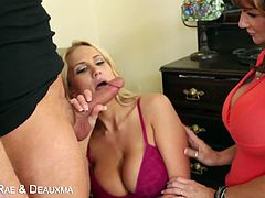 Two hot girls blow huge dick Watch Alanah Rae and Deauxma blow a huge cock and get fucked in a bunch of crazy positions! Don't miss the show from eatsleepporn.