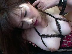 Voracious Japanese mom wearing sassy lingerie is riding hard dong on top. She moans wild while jumping on a solid prick. Then she gets screwed missionary style.