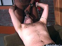 Slutty gay daddy Keimo gives a blowjob to a black guy. Then he takes his BBC in his ass and they bang in the reverse cowboy position.