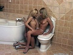 Two fantastic blondes are having lesbian fun in a bathroom. They kiss and fondle each other and then finger each other's coochies and pound them with dildos.