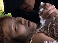 Slutty Japanese mom called Mei and her man are having fun in the forest. The bitch pleases the guy with a blowjob and lets him invade her snatch from behind.