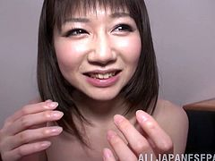 Konishi looks amazing in her hot little swimsuit as she gets on her knees and sucks him until he bursts in her mouth so she can swallow it down.
