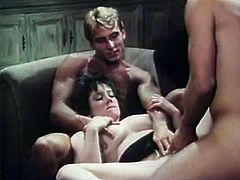 Attractive curly whore with nice ass gets he dripping pussy fucked hard and sucks the dick at the same time. Have a look at this babe in The Classic Porn sex video.