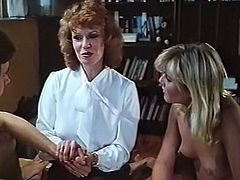 Amazing light haired babes with nice asses play with their clits on the bed and the man gets a blowjob from them. Have a look at these bitches in The Classic Porn sex video.