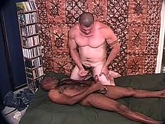Two big guys of different races suck each others dicks at the same time. After that the Black dude gets his asshole destroyed.
