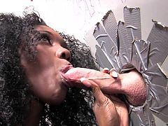Damn, what a steaming hot babe Alicia Tease is! She gets naked and starts flashing out her delicious body! Then she blows a cock in a gloryhole.